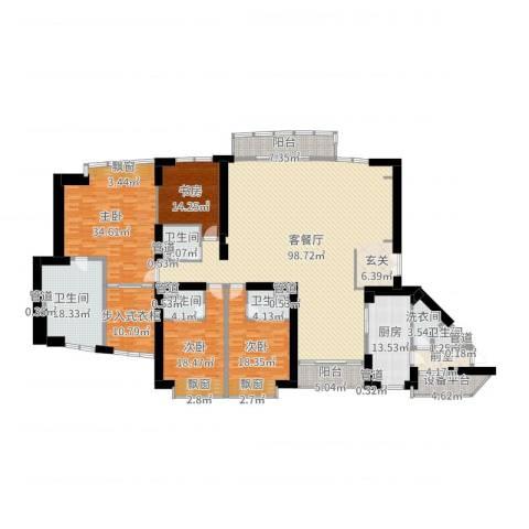 中粮海景壹号4室2厅5卫1厨335.00㎡户型图