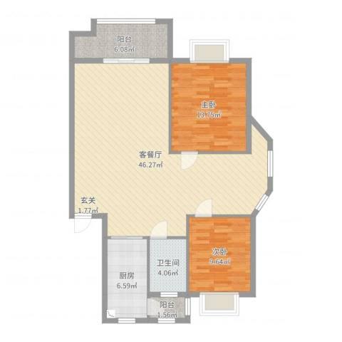 清泉花园2室2厅1卫1厨110.00㎡户型图
