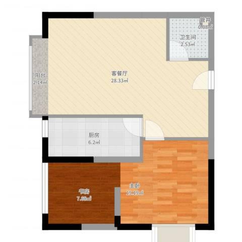 南海桂花园1室2厅1卫1厨56.32㎡户型图