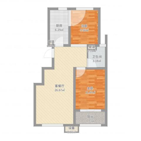 佰瑞廷2室2厅4卫1厨78.00㎡户型图