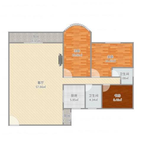 天明豪庭3室1厅2卫1厨146.00㎡户型图