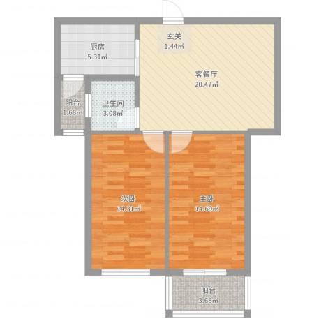 府锦花园2室2厅1卫1厨79.00㎡户型图