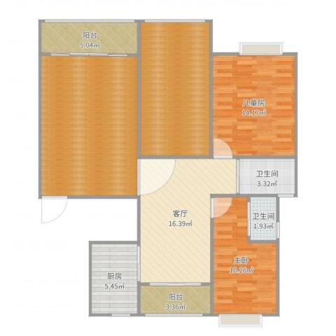 西子山庄2室1厅2卫1厨123.00㎡户型图