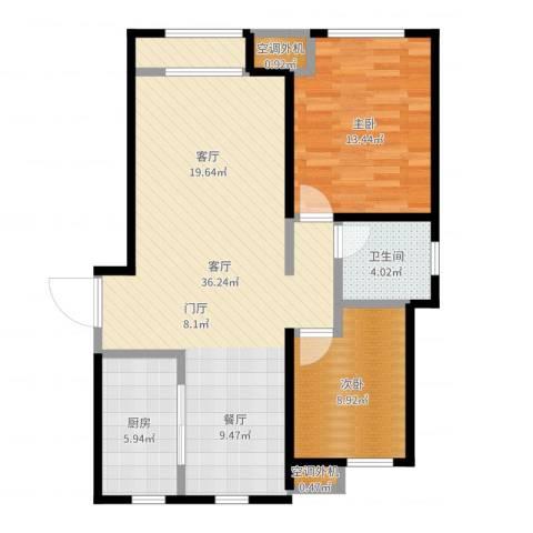 金桥澎湖山庄2室1厅1卫1厨90.00㎡户型图