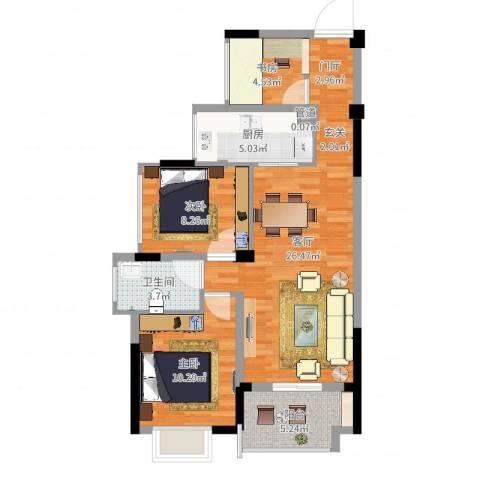 信德翡翠湾3室1厅1卫1厨80.00㎡户型图