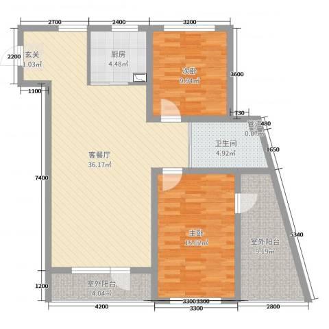 万嘉国际2室2厅1卫1厨115.00㎡户型图
