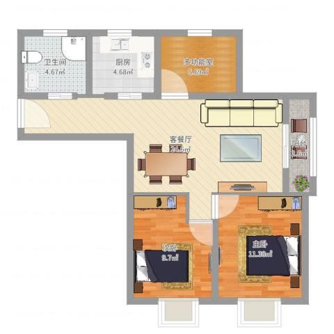 伊顿华府2室2厅1卫1厨79.00㎡户型图