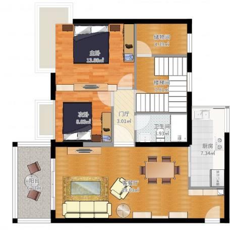 景新国际名城2室2厅1卫1厨106.00㎡户型图