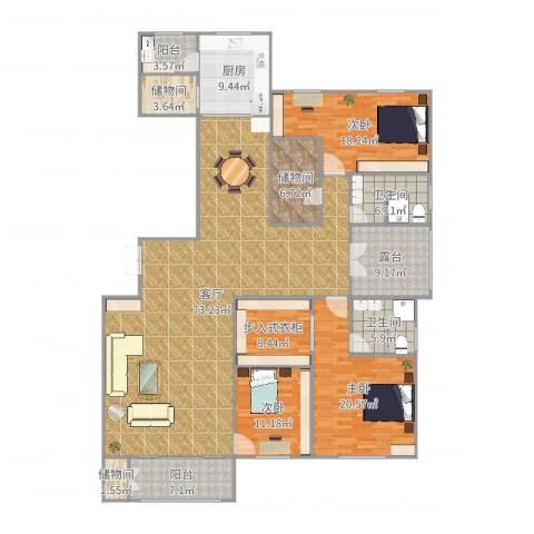 天一康园3室1厅2卫1厨231.00㎡户型图