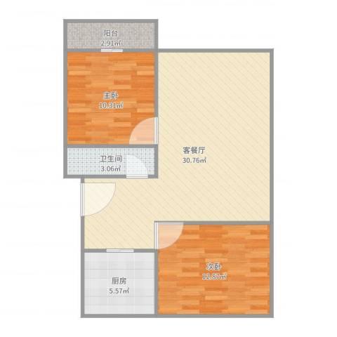 水天福苑2室2厅1卫1厨82.00㎡户型图