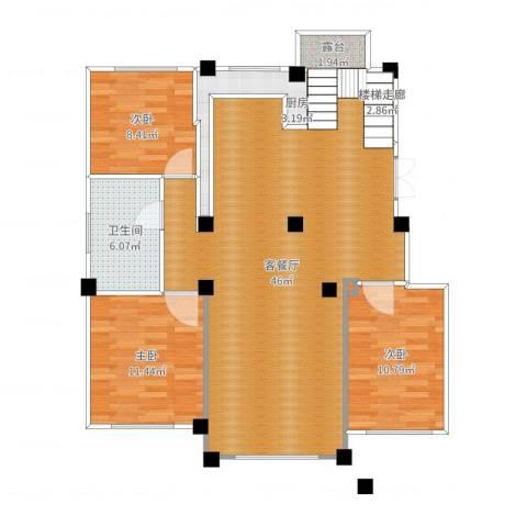 佳地花园二期3室2厅1卫1厨111.00㎡户型图