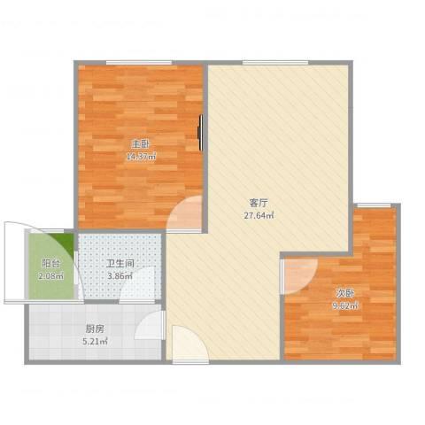 临江佳园2室1厅1卫1厨78.00㎡户型图