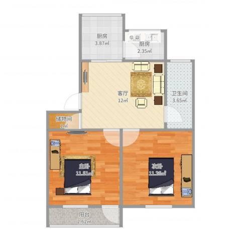 洪苑小区2室1厅1卫2厨60.00㎡户型图
