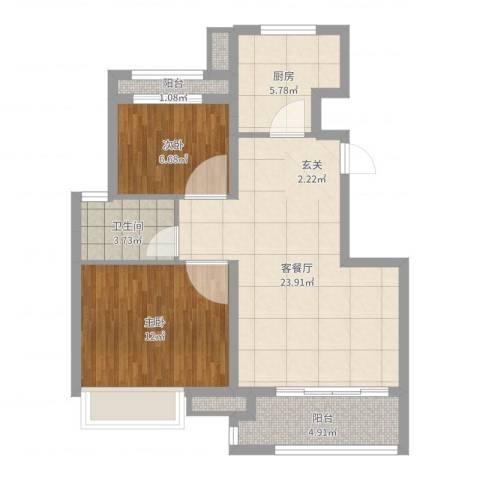 象屿上海年华2室2厅1卫1厨74.00㎡户型图