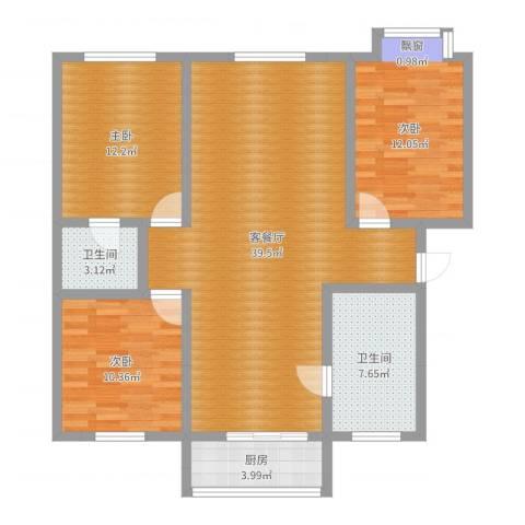 泰和小区3室2厅2卫1厨111.00㎡户型图