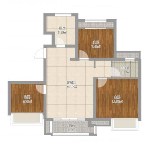 象屿上海年华3室2厅1卫1厨81.00㎡户型图