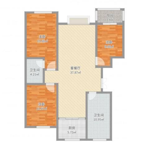 恒泰丽景3室2厅2卫1厨126.00㎡户型图