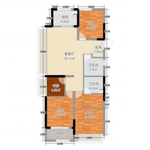 绿城桃源小镇4室2厅2卫1厨117.00㎡户型图