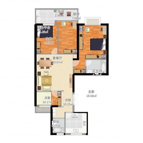 蓝天华都苑4室2厅2卫1厨98.52㎡户型图