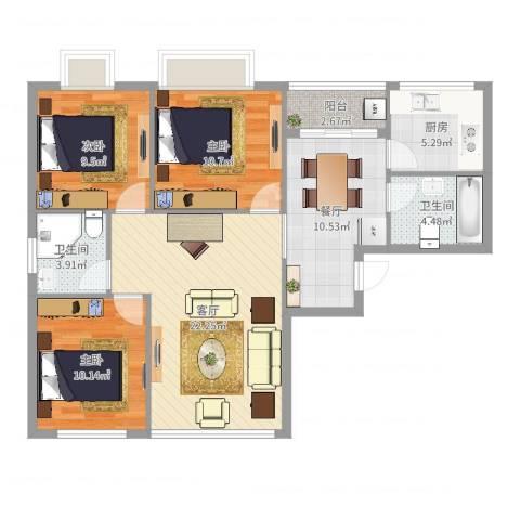 万达广场公寓3室2厅2卫1厨99.00㎡户型图