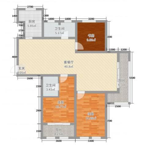 滨河城市经典3室2厅2卫1厨149.00㎡户型图