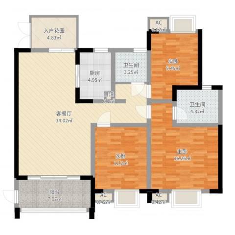 世纪城龙吉苑3室2厅2卫1厨122.00㎡户型图