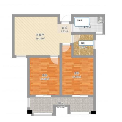 福地锦绣华庭2室2厅1卫1厨74.00㎡户型图