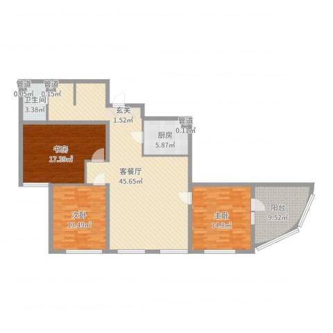 东方星海3室2厅1卫1厨138.00㎡户型图