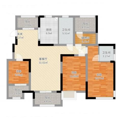 津西美墅馆3室2厅2卫1厨124.00㎡户型图