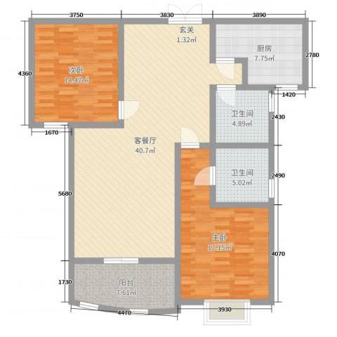 华盛大公馆2室2厅2卫1厨97.60㎡户型图