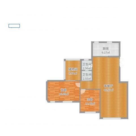 锦联・经典名郡2室2厅2卫1厨121.00㎡户型图