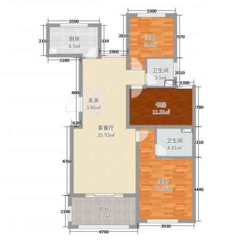 香江名邸3室2厅2卫1厨121.00㎡户型图