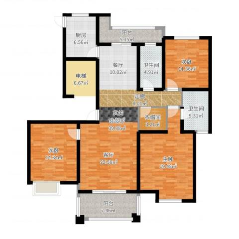 铭邦华府3室2厅2卫1厨147.00㎡户型图