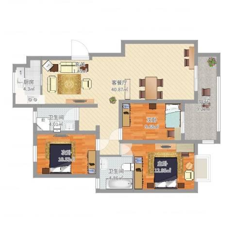 皇山华府3室2厅2卫1厨121.00㎡户型图