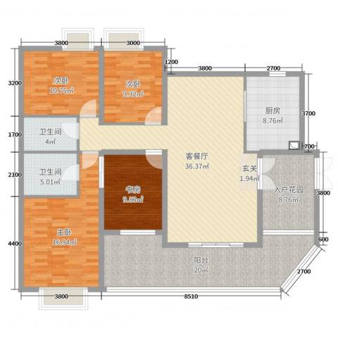 华菱嘉园二期4室2厅2卫1厨162.00㎡户型图