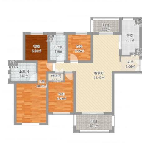城市水岸3室2厅2卫1厨91.55㎡户型图