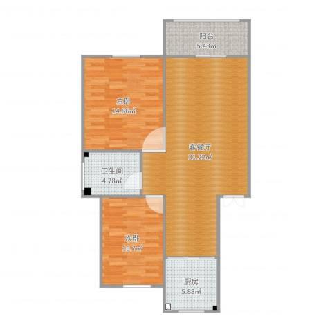 蒋巷北苑2室2厅1卫1厨90.00㎡户型图