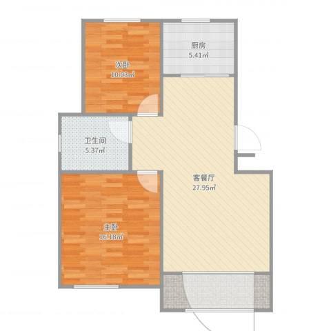 水岸绿城2室2厅1卫1厨88.00㎡户型图