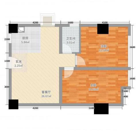 恒大金都2室2厅1卫0厨86.00㎡户型图