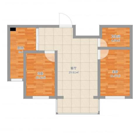 金港湾二期2室1厅1卫1厨80.00㎡户型图