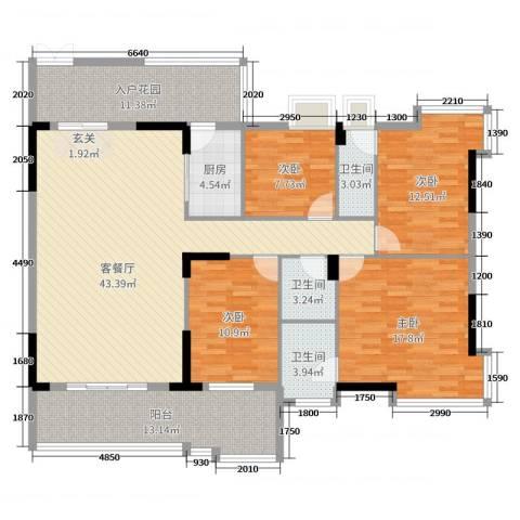 大唐盛世三期4室2厅3卫1厨164.00㎡户型图