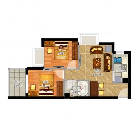 公正新苑2室1厅1卫1厨53.00㎡户型图