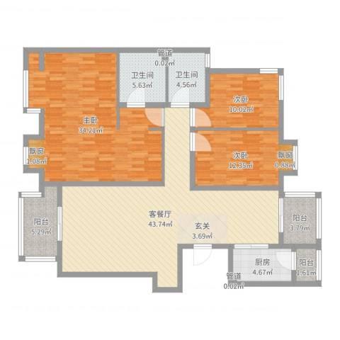 津西东湖湾3室2厅2卫1厨157.00㎡户型图