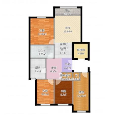 华润・润西山3室2厅1卫1厨112.00㎡户型图