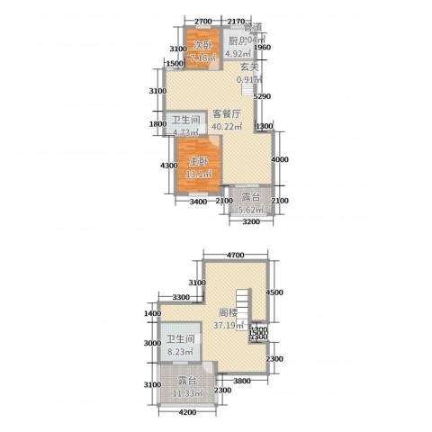 玲珑湾2室2厅2卫1厨132.54㎡户型图