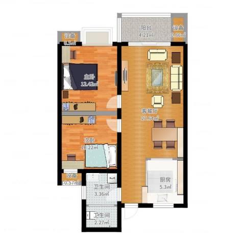 国耀星达城2室2厅2卫1厨84.00㎡户型图