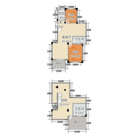 玲珑湾2室2厅2卫1厨131.36㎡户型图