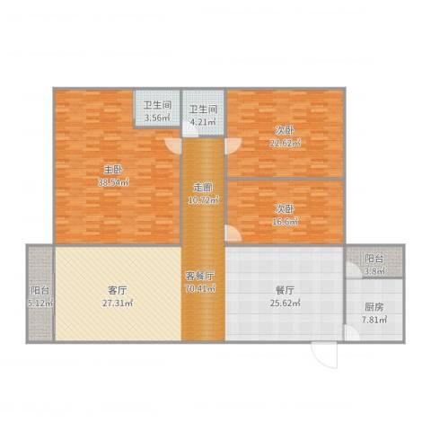 利福花园3室2厅2卫1厨216.00㎡户型图