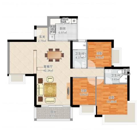 金碧湾花园3室2厅2卫1厨112.00㎡户型图