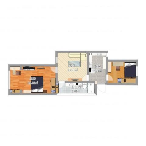 白杨小区1室1厅1卫1厨71.00㎡户型图